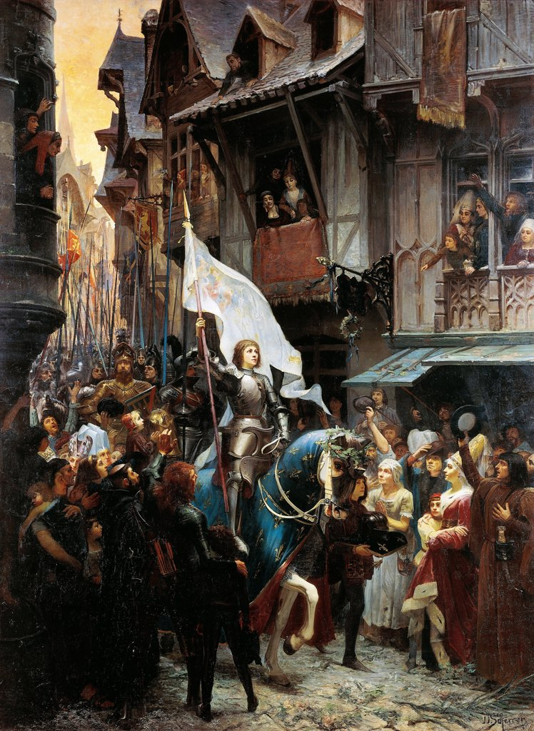The entrance of Joan of Arc into Orleans on 8th May 1429, by Jean Jacques Scherrer (1855-1916). : Stock Photo