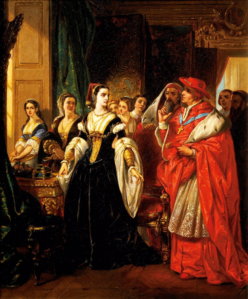 Stock Photo: 1788-53952 Henry VIII's divorce, Cardinal Wolsey with Catherine of Aragon, 1533, by Eugene Deveria (1805-1865), oil on canvas. Tudor, England, 16th century.