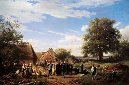 Napoleon III visiting Coudray farm in Salogne, 1852, by Raymond Noel Esbrat (1809-1856). Second Empire, France, 19th century. : Stock Photo