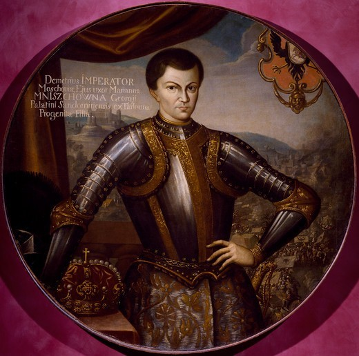 Stock Photo: 1788-53960 Grigory Otrepev (the first False Dmitriy) crowned on May 8 and killed May 16, 1606, painted by an unknown 17th-century Polish artist. Poland, 17th century.