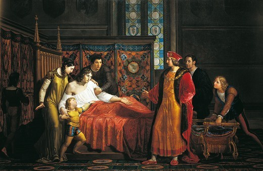 Stock Photo: 1788-54076 Charles VIII visiting the dying Gian Galeazzo Sforza in Pavia Castle, 1494, by Pelagio Palagi (1775-1860), 1816, oil on canvas, 118x189 cm. Italy, 15th century.