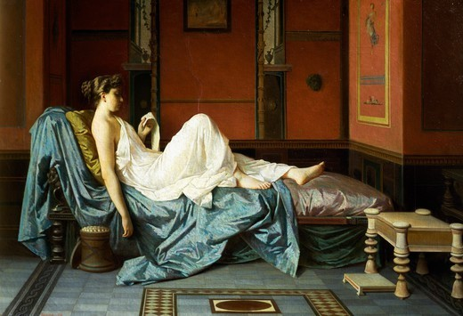 The Pompeian, 1871, by Federico Maldarelli (1826-1893), oil on canvas. : Stock Photo