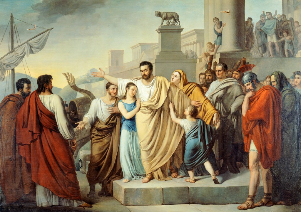 Stock Photo: 1788-54099 Atilius Regulus taking leave of his family to begin his journey Carthage to face certain death, Nappi Sigismund (1804-1832), 1826, oil on canvas, 164x230 cm. First Punic War, Italy third century BC.