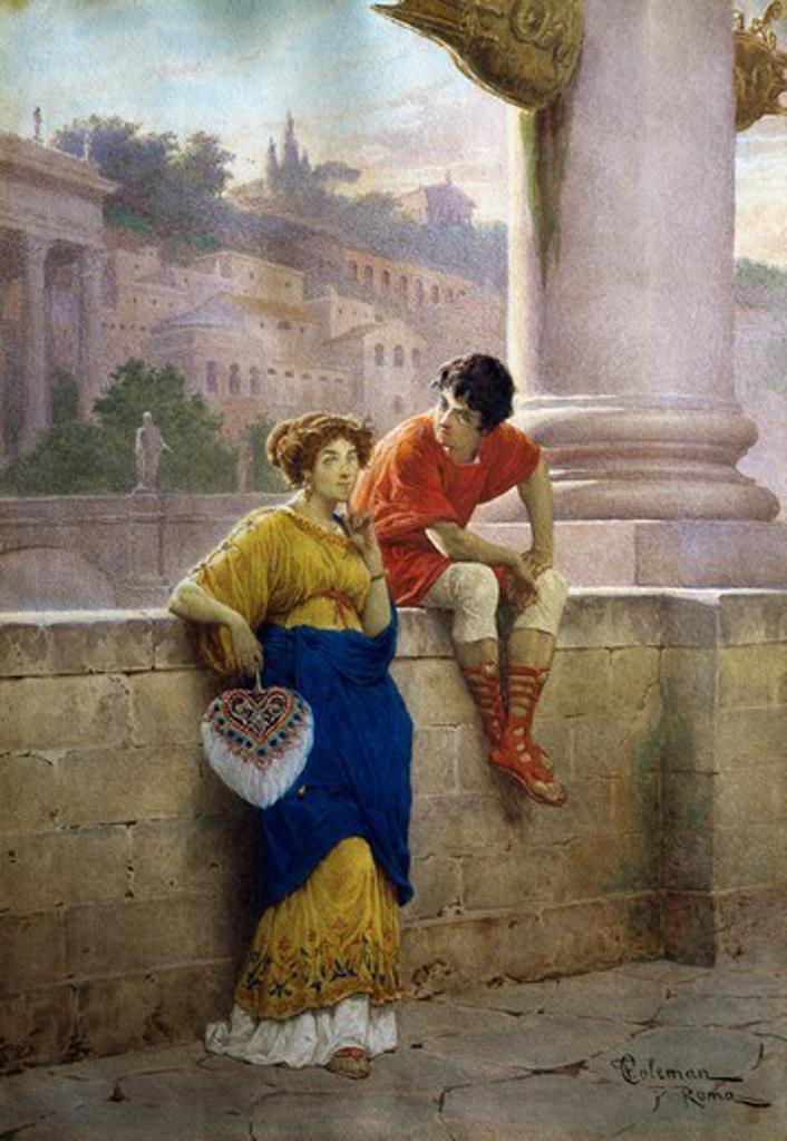 Stock Photo: 1788-54103 Scene of Pompeii life on the Tiber, by Francesco Coleman (1851-1918).