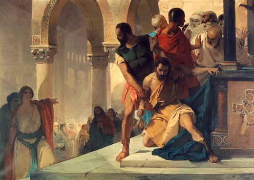 Fazio being dragged by force from the temple of St Sophia in Constantinople by order of Empress Theodora, by Eleuterio Pagliano (1826-1903). Byzantine Empire, Turkey, 6th century. : Stock Photo