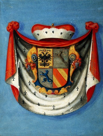 Stock Photo: 1788-54131 Coat of arms of Marquis Giampaolo IV Meli-Lupi, 1709. Heraldry, Italy, 18th century.
