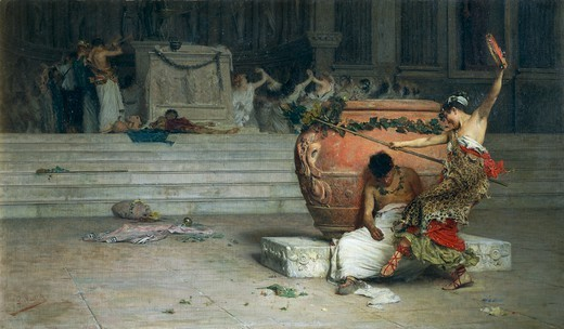 In the Temple of Bacchus, 1881, by Giovanni Muzzioli (1854-1894), oil on canvas, 93.3 x158 cm. : Stock Photo