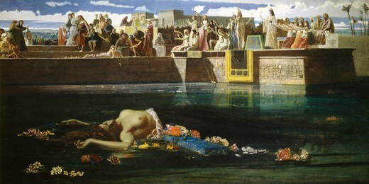 Stock Photo: 1788-54152 A virgin being sacrificed to the Nile, by Frederick Faruffini (1833-1869), 1865, oil on canvas.