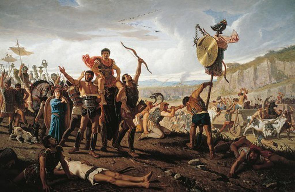 Mario's triumph, by Francesco Saverio Altamura (1822-1897), oil on canvas, 234x352 cm. Republican Age, Italy, 2nd-1st century BC. : Stock Photo