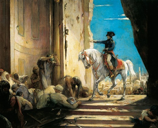 Stock Photo: 1788-54182 Napoleon Bonaparte in the Grand Mosque in Cairo in 1798, painting by Henri Leopold Levy (1840-1904), ca 1890, oil on canvas. Detail. French Revolutionary Wars, Egypt, 18th century.