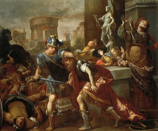 Stock Photo: 1788-54183 The burning of Troy, by Alessandro Tiarini (1577-1668), oil on canvas, 230.5x273.5 cm.