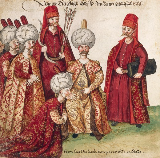 Stock Photo: 1788-54191 The Turkish Sultan with his officers, 1712, watercolour print. Turkey, 18th century.