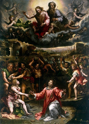 Stock Photo: 1788-54286 St Stephen's martyrdom, painted by Giulio Romano (1499-1546). St Stephen Church, Genoa. Italy, 16th century.
