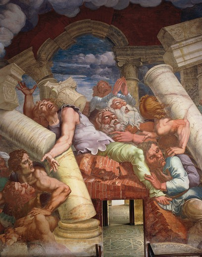 Frescoes by Giulio Romano (1499-1546) painted in 1532-1535 in the Chamber of the Giants, Palazzo Te, Mantua (UNESCO World Heritage List, 2008). Italy, 16th century. : Stock Photo