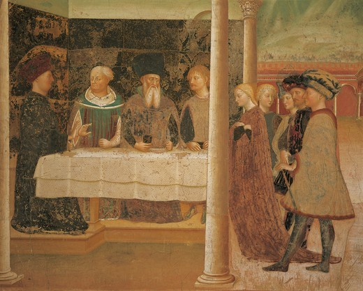 Stories of the Baptist: Herod's banquet, detail of a 15th century fresco by Masolino da Panicale (1383-1440), Baptistery of Castiglione Olona, ??Italy, 15th century. : Stock Photo
