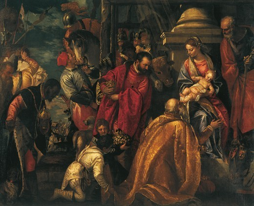 Adoration of the Magi, ca 1580, by Paolo Veronese (1528-1588), oil painting, Church of Santa Corona, Vicenza, Veneto. Detail. Italy, 16th century. : Stock Photo