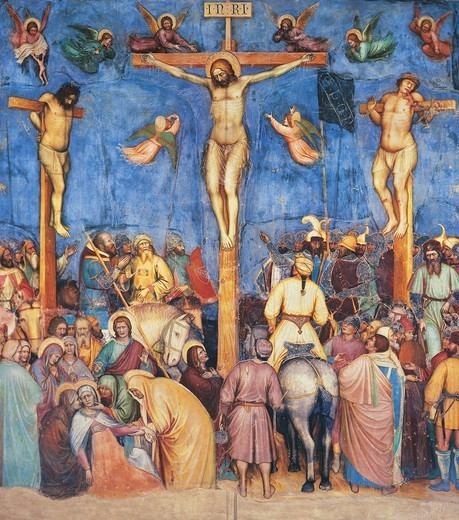 Crucifixion of Christ, 1379-1384, by Altichiero (ca 1330-1393), fresco, Oratory of St George, Padua, Veneto. Italy, 14th century. : Stock Photo