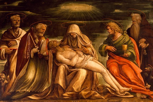 Pieta between Saints Mark, Ambrose, John the Evangelist and Antonio Abate, ca 1519, by Amico Aspertini (1474 or 1475-1552), tempera on canvas, 181x266 cm, San Petronio (St Petronius) Basilica, Bologna, Emilia-Romagna. Italy, 16th century. : Stock Photo