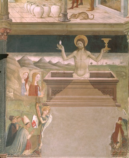 The Resurrection of Jesus Christ, detail from a fresco by Andrea De Litio or Delisio (ca. 1420-1495). Cathedral of Santa Maria Assunta, Atri. Italy, 15th century. : Stock Photo