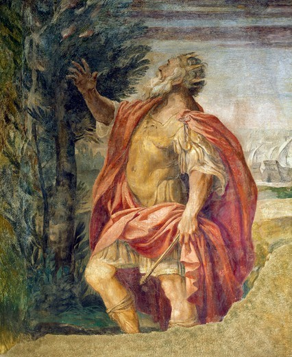 Mythological subject, by Agostino Carracci (1557-1602), fresco, Magnani-Salem Palace, Bologna, Emilia-Romagna. Italy, 16th century. : Stock Photo