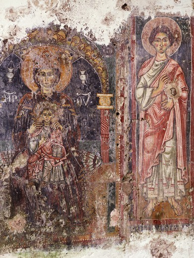 Stock Photo: 1788-54374 Madonna enthroned with Child and Saint Thomas Apostle, 12th century, fresco by the Provincial Master, Church of Santa Maria in Grotta, Rongolise, Sessa Aurunca, Campania. Italy, 12th century.