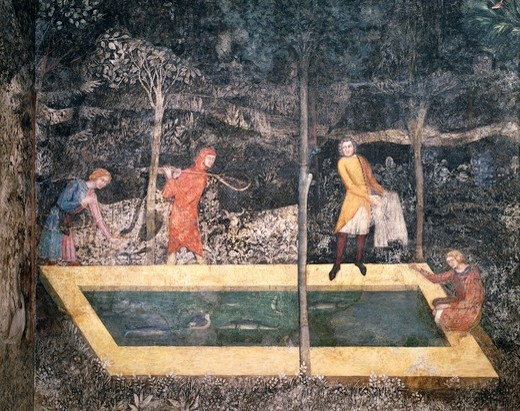 Four people around a pond catching fish, detail from a fresco by Matteo di Giovanetto (1300-1369) from the Stag Room of the Papal Palace in Avignon (UNESCO World Heritage List, 1995), France. : Stock Photo