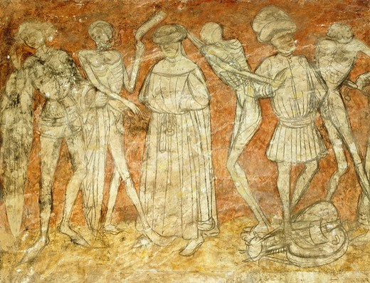 Stock Photo: 1788-54409 Dance of Death, 15th century fresco in the at La Chaise-Dieu abbey, France.