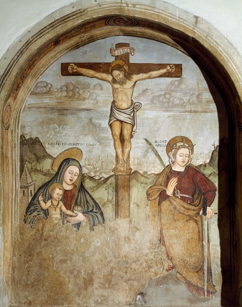 Christ Crucified with Saint Mary and Saint Catherine, 16th century fresco by unknown author, Church of the Nativita della Beata Vergine Maria, San Chirico Raparo (Potenza), Basilicata, Italy. : Stock Photo