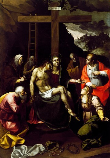 Stock Photo: 1788-54421 Lamentation over the Dead Christ, 1634, by Pietro Antonio Ferri, Cathedral of Tricarico (Matera), Basilicata, Italy, 16th century.