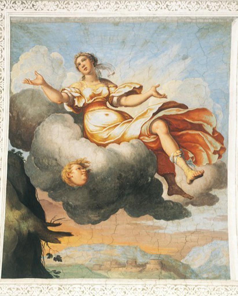 Detail from the frescoes by Bernardo Castello (1557-1629) in the Hall of Cupid and Psyche of Palazzo Odescalchi at Bassano Romano, Lazio. Italy. : Stock Photo