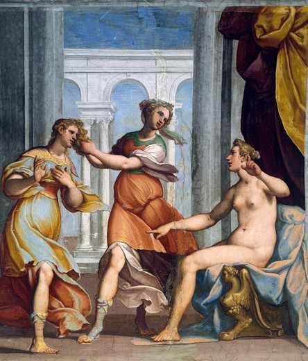 Stock Photo: 1788-54451 Scene depicting Psyche, fresco by Bernardo Castello (1557-1629) in the Hall of Cupid and Psyche of Palazzo Odescalchi at Bassano Romano, Lazio. Italy, 16th century.