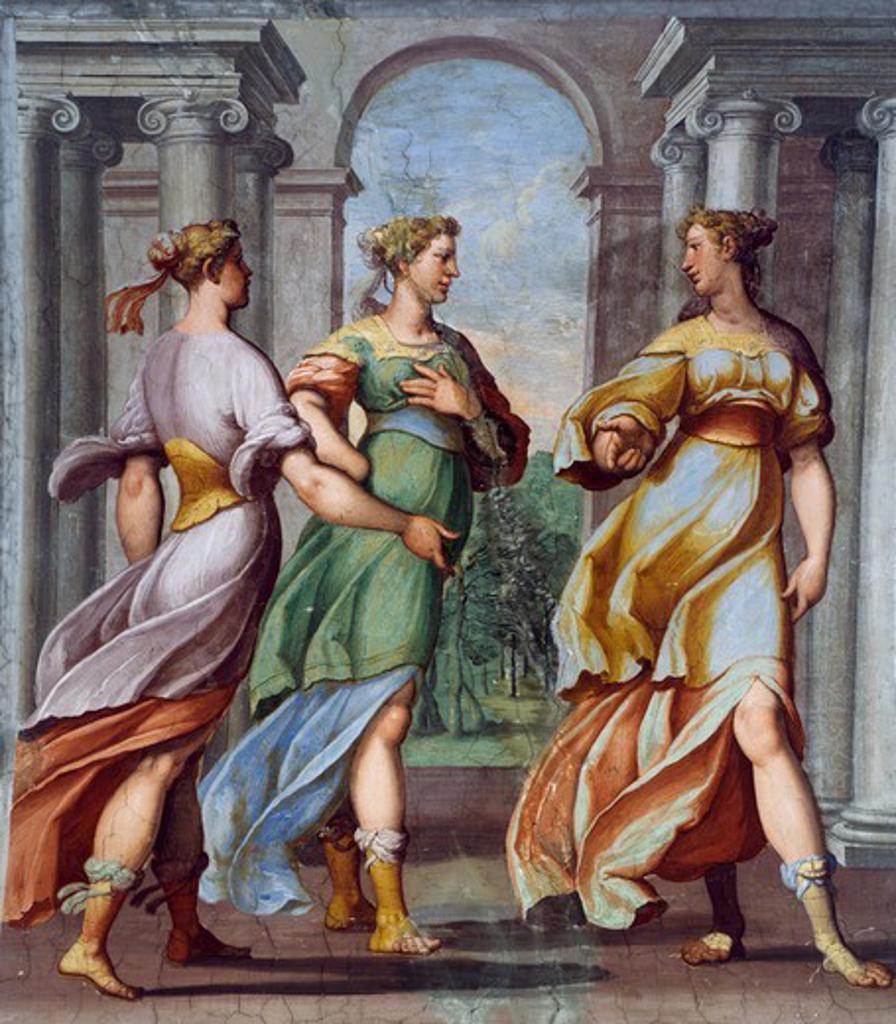 Fresco by Bernardo Castello (1557-1629) in the Hall of Cupid and Psyche of Palazzo Odescalchi at Bassano Romano, Lazio. Italy, 16th century. : Stock Photo