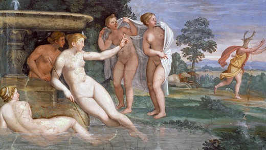Stock Photo: 1788-54454 Actaeon's Punishment, fresco by Domenichino (1581-1641) in the Hall of Music of Palazzo Odescalchi at Bassano Romano, Lazio. Italy, 17th century.