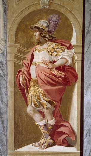 Stock Photo: 1788-54463 Allegorical figure, 1650, by Luca Ferrari (1605-1654), fresco, hall in Villa Selvatico, Battaglia Terme, Veneto. Detail. Italy, 17th century.