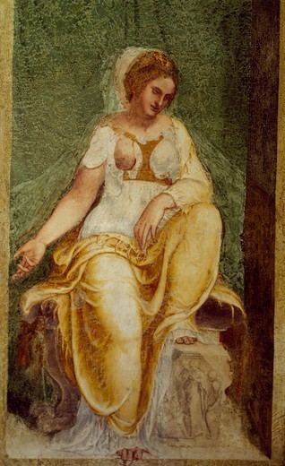Stock Photo: 1788-54471 Female figure, by Lambert Sustris (1515-d. ca 1560), fresco, central hall, Villa dei Vescovi, Luvigliano di Torreglia, Veneto. Italy, 16th century.