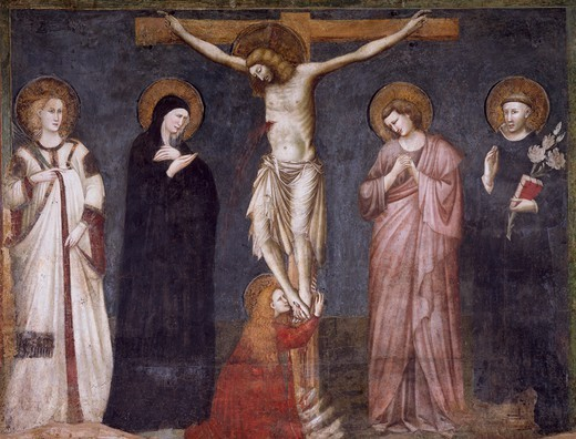 Crucifixion of Christ, scene from the Life of Christ, 1320-1325, by an unknown artist, fresco, Chapel of St Nicholas, Basilica of Saint Nicolas of Tolentino, Tolentino . Italy, 14th century. : Stock Photo