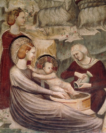 Stock Photo: 1788-54526 Washing of Baby Jesus, scene from the Life of Christ, 1320-1325, by an unknown artist, fresco, Chapel of St Nicholas, Basilica of Saint Nicolas of Tolentino, Tolentino . Italy, 14th century.