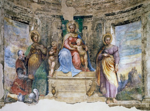 Stock Photo: 1788-54534 Virgin and Child with St John, St Mary Magdalene, St Catherine of Alexandria and Fra' Sabba, 1533, by Girolamo da Treviso the Younger (1497-1544), fresco, apsidal basin, Church of the Commandery, Borgo Durbecco, Faenza, Emilia-Romagna. Italy, 16th century.