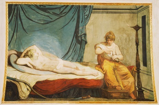Stock Photo: 1788-54543 Scene from the myth of Cupid and Psyche, 1794, by Felice Giani (1758-1823), tempera wall painting, Palazzo Laderchi, Faenza, Emilia-Romagna. Italy, 18th century.