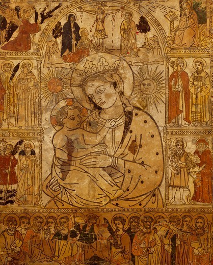Madonna del Fuoco (Madonna of the Fire), woodcut on paper on wood panel, Santa Croce Cathedral, Forli, Emilia-Romagna. Italy, 15th century. : Stock Photo