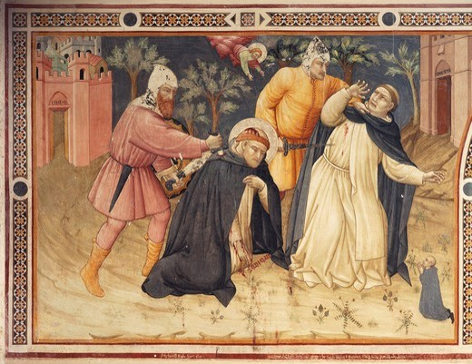 Stock Photo: 1788-54561 The Martyrdom of St Peter, Umbrian school, fresco, Basilica of St Dominic, Perugia, Umbria. Italy, 14th century.