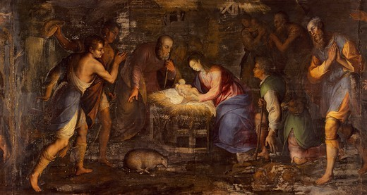 Stock Photo: 1788-54569 Nativity, 1600, by Giovan Battista Gualtieri. Altarpiece predella by Andrea Solario. Certosa di Pavia. Italy, 17th century.