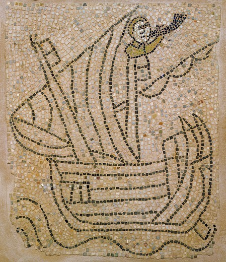 Stock Photo: 1788-54577 Ship with a sailor playing a horn during the Fourth Crusade, fragment of a mosaic floor, Church of San Giovanni Evangelista, Ravenna, Emilia-Romagna. Italy, 13th century.
