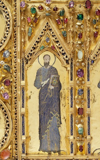 Stock Photo: 1788-54598 Pala d'Oro (Golden Pall) altarpiece, St Mark's Basilica, Venice. Goldsmith art, Italy, 12th-14th century. Detail.