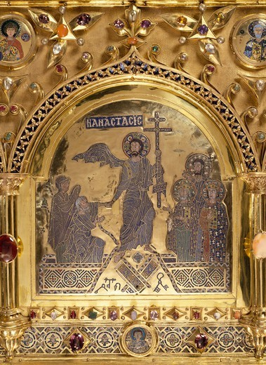 Stock Photo: 1788-54604 Risen Christ, Pala d'Oro (Golden Pall) altarpiece, St Mark's Basilica, Venice. Goldsmith art, Italy, 12th-14th century. Detail.