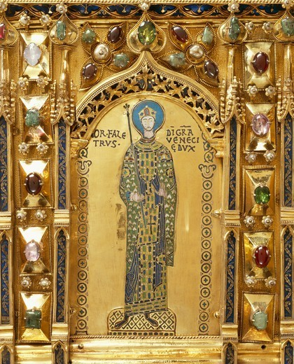 Doge Ordelaffo Falier, detail from the Pala d'Oro (Golden Pall) altarpiece, St Mark's Basilica, Venice. Italy, 12th-14th century. : Stock Photo