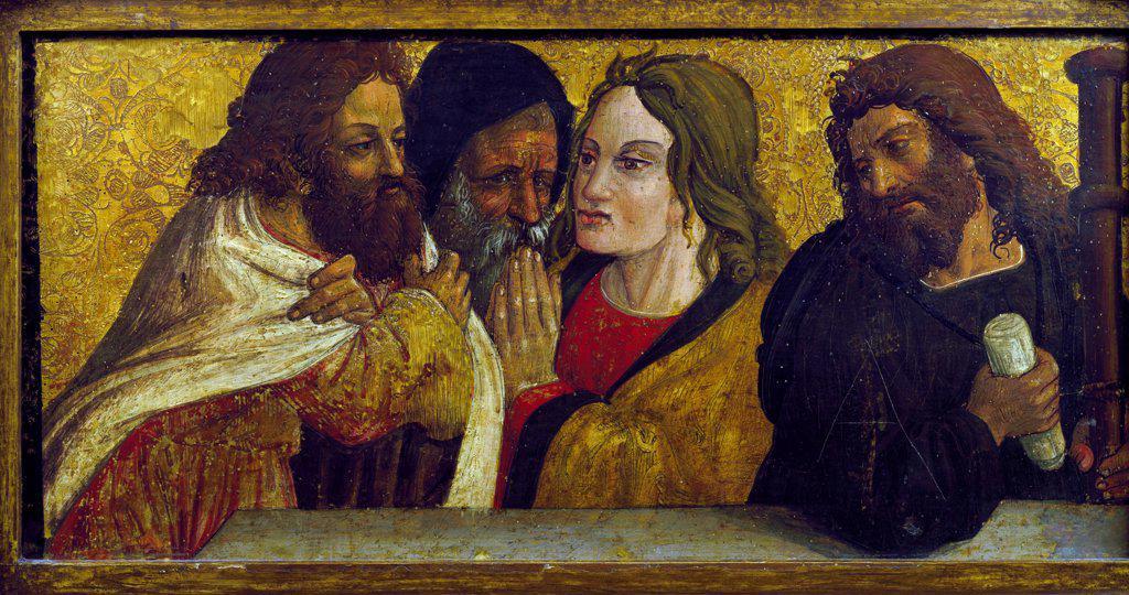 Last Supper, detail of predella from the polyptych by Simone da Firenze, Church of Santi Pietro e Paolo, San Chirico Raparo (Potenza), Basilicata, Italy. : Stock Photo
