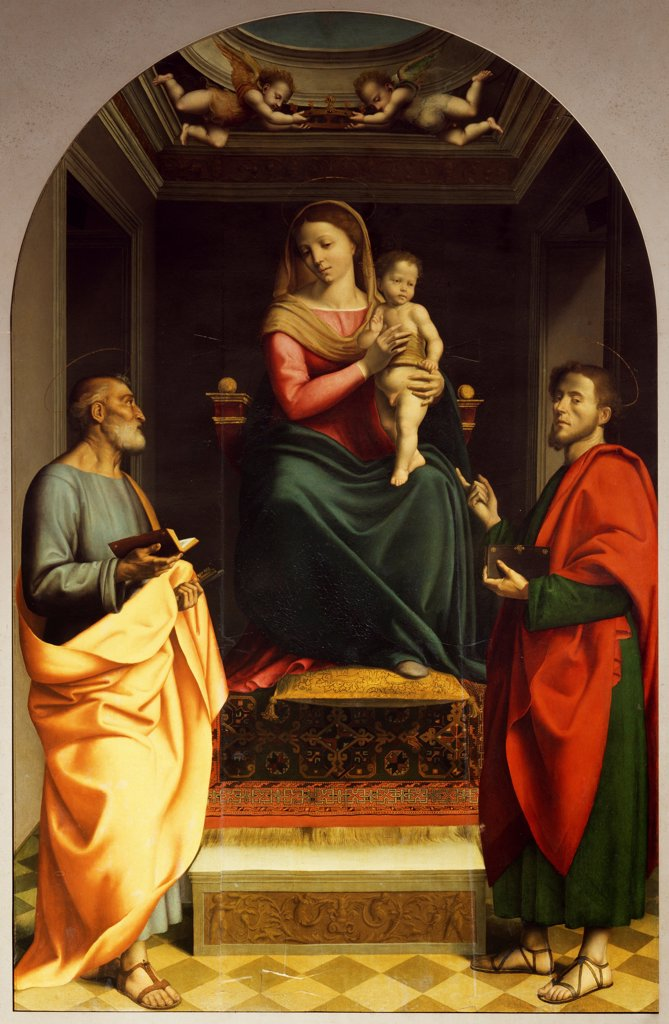 Stock Photo: 1788-54661 Enthroned Madonna and Child with Saints, painted in the 16th century by Albertino Piazza. Cathedral, Savona. Italy, 16th century.