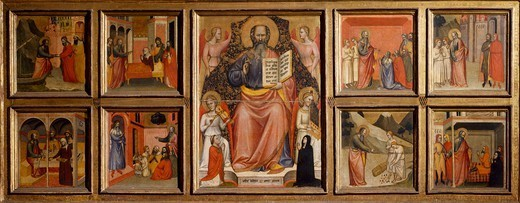St John the Evangelist and Eight stories from his life, 1370, by Giovanni di Bartolomeo Cristiani (active from 1347, died ca 1400), tempera on wood, Church of St John Fuorcivitas, Pistoia, Tuscany. Italy, 14th century. : Stock Photo