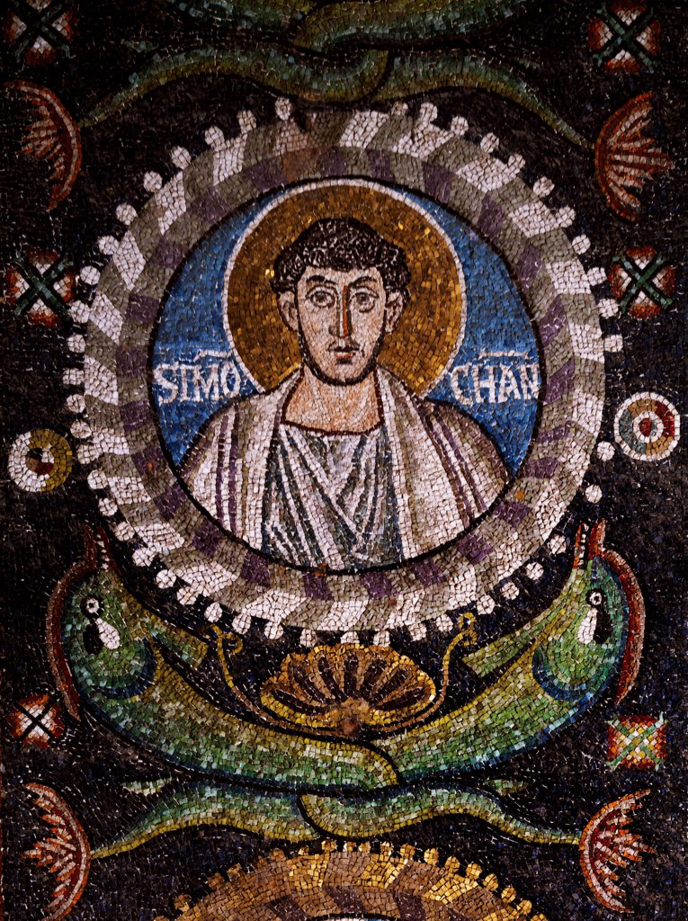 Clipeus with St Simon the Zealot's image, mosaic, intrados of the arch at the entrance to the presbytery, Basilica of San Vitale (UNESCO World Heritage List, 1996), Ravenna, Emilia-Romagna. Italy, 6th century. : Stock Photo